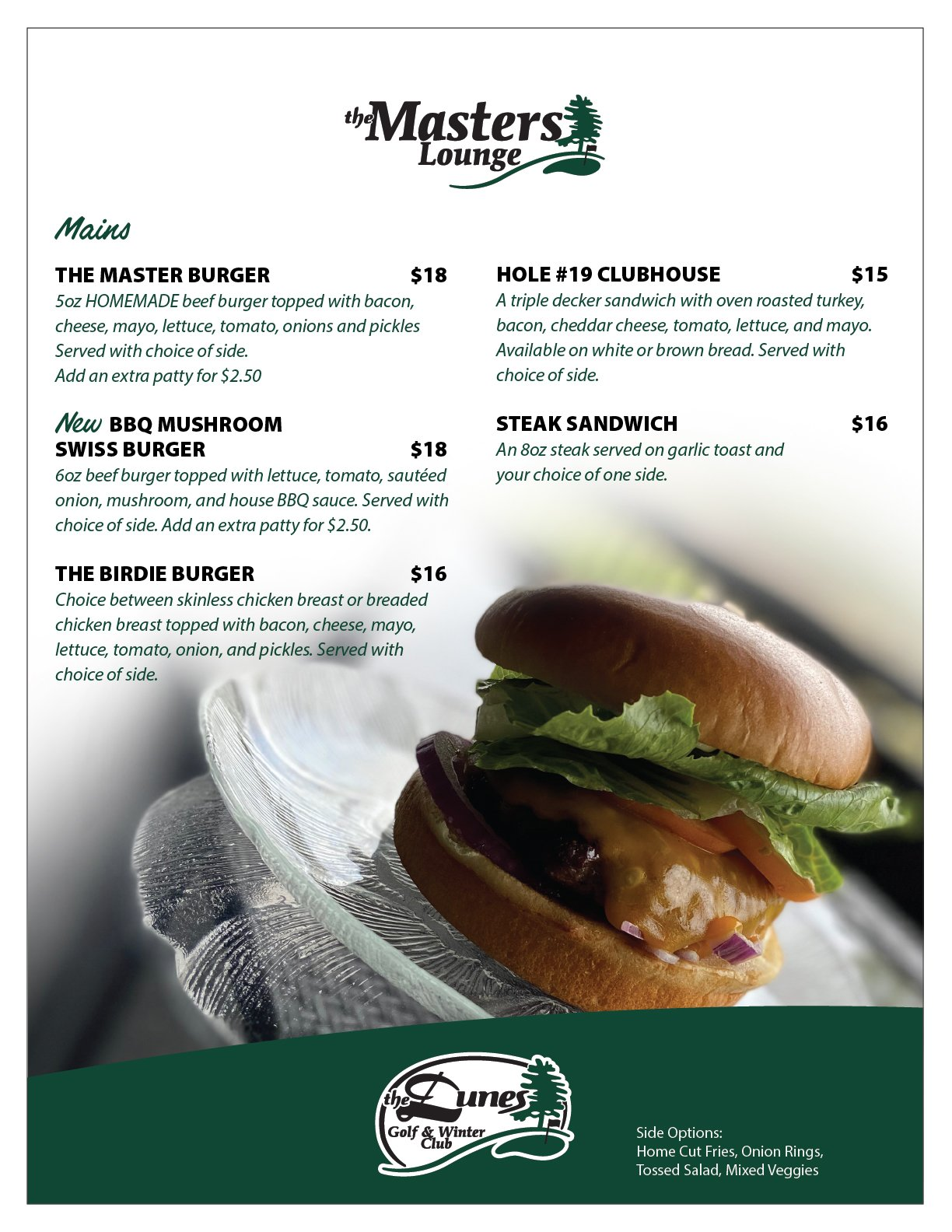 The Masters Lounge entrees